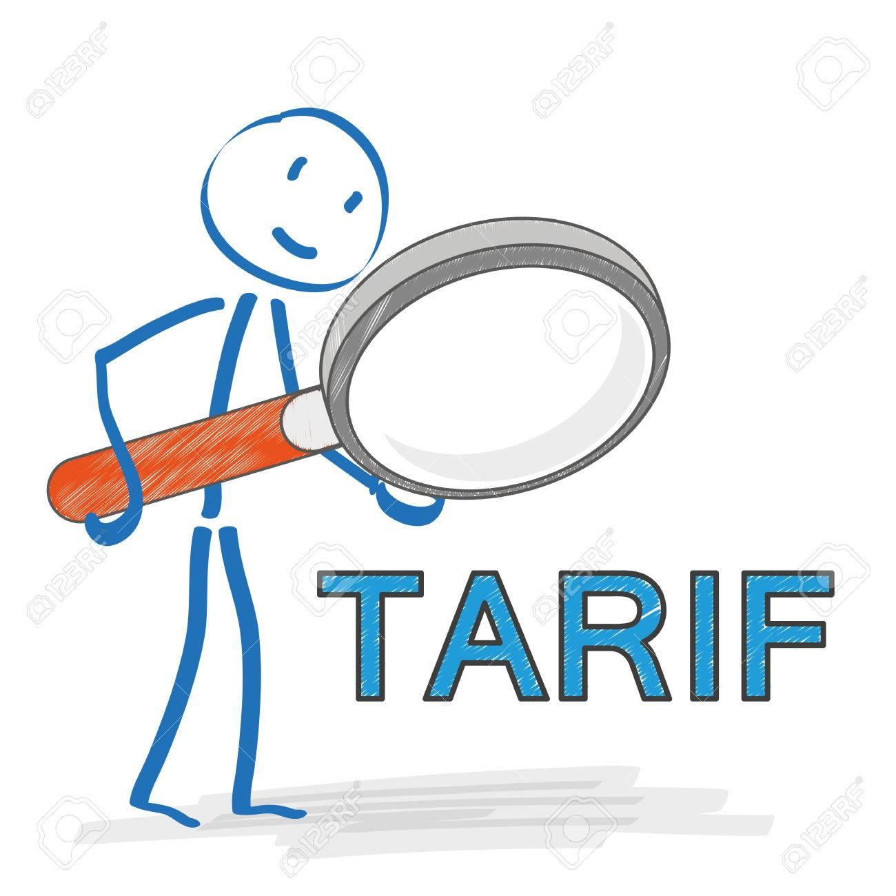 38717705 stickmen avec loupe sur le fond blanc texte allemand quot tarif quot traduisez tarif eps 10 fichie